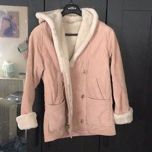 Genuine Leather Faux Fur Lined Overcoat - Pink